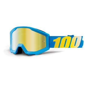 100% Strata Youth Goggle Blue - Mirror Gold Lens
